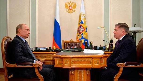Володимир Путін і  В'ячеслав Лебедєв