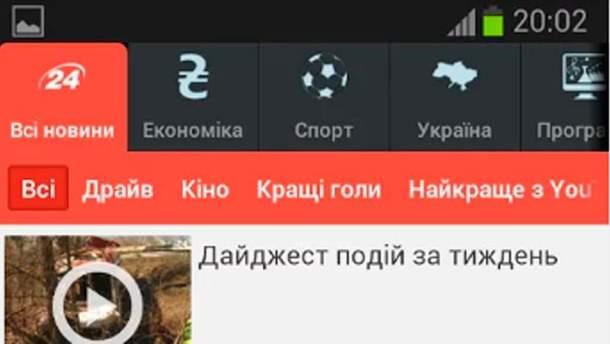 """Мобільний сайт """"24 каналу"""""""