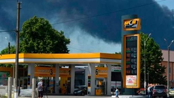 Дым от пожара под Киевом