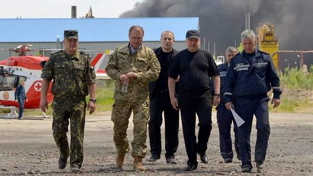 Александр Турчинов на месте пожара