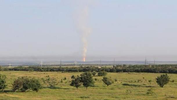 Пожар на газопроводе после обстрела