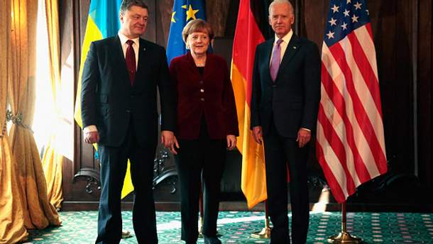 Петр Порошенко, Ангела Меркель и Джозеф Байден