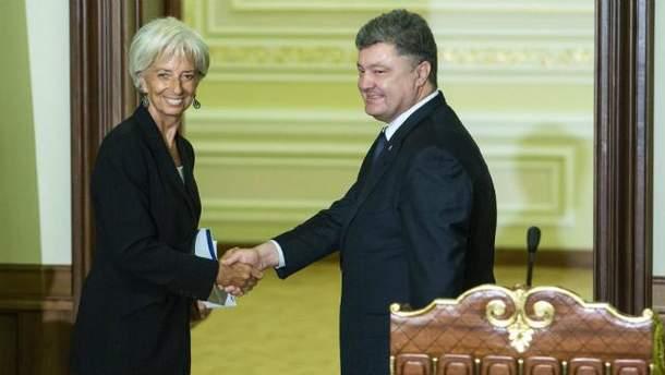Кристин Лагард и Петр Порошенко