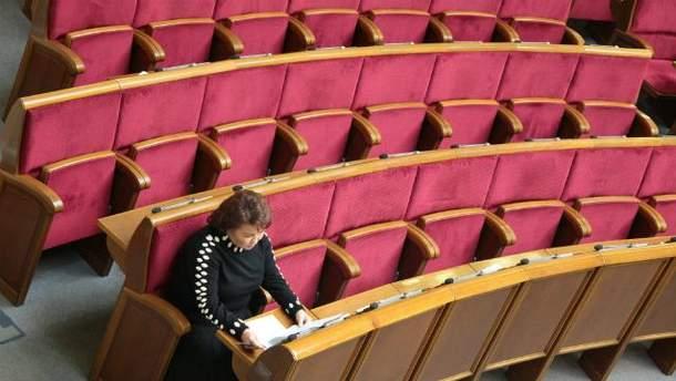 Народный депутат Татьяна Бахтеева в зале парламента