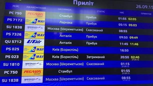 Отменены рейсы на табло