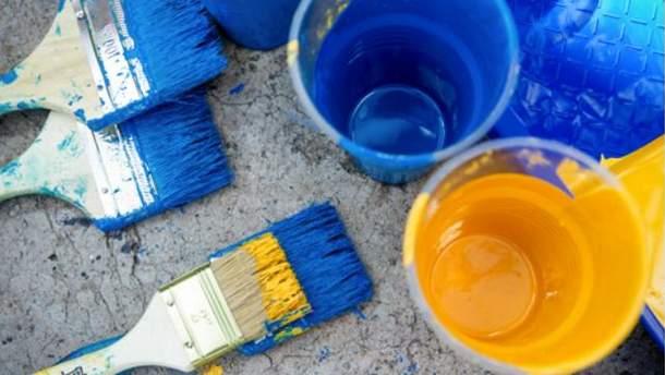 Синяя и желтая краски