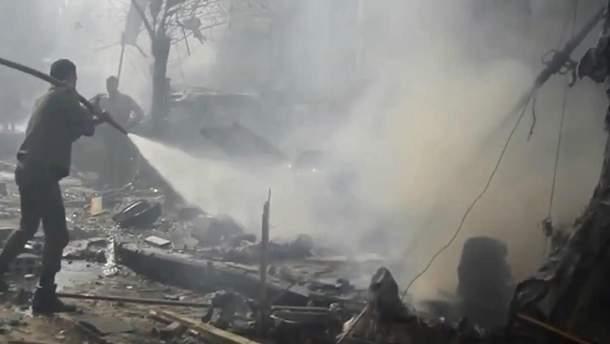 Последствия авиаудара россиян в Сирии