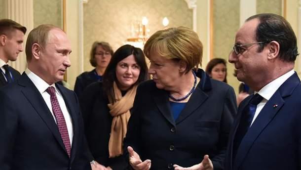 Путин, Меркель и Олланд в Минске