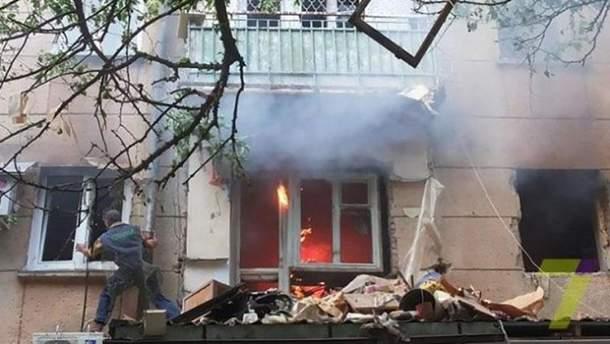 Пожар после взрыва в Одессе