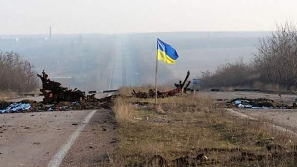 Украинский флаг в зоне АТО