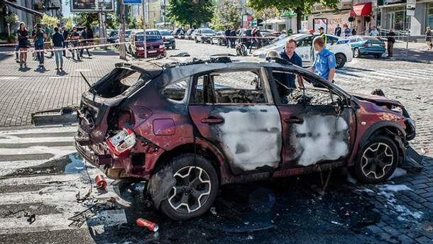 Автомобіль, в якому перебував Шеремет, після вибуху