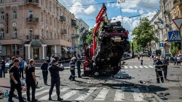 Автомобиль Павла Шеремета после взрыва