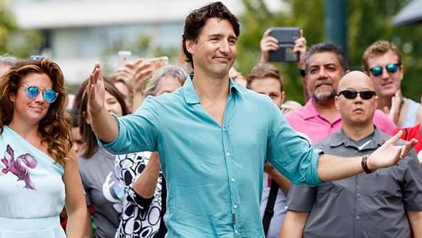 Премьер-министр Канады Джастин Трюдо на марше равенства