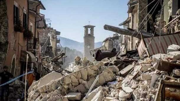 Руины после землетрясения в Италии