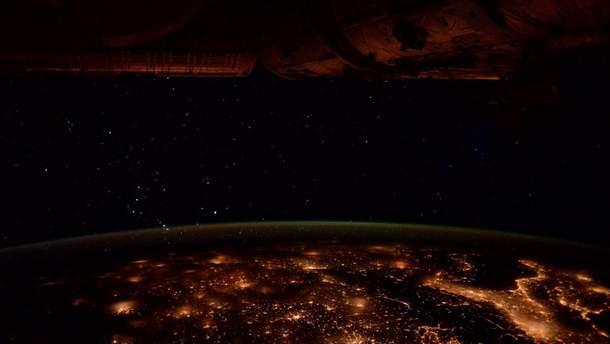 Вид ночной Европы из космоса