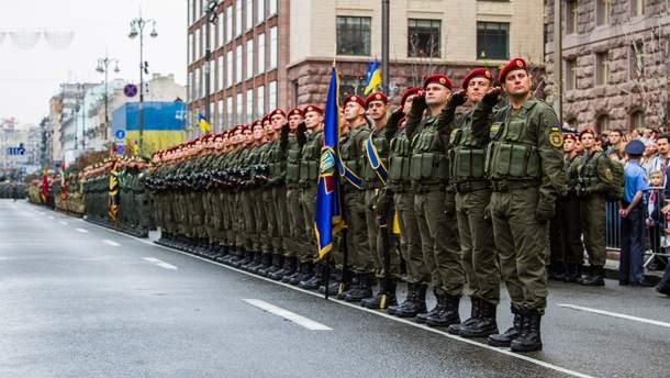 Нацгвардійці на параді до Дня Незалежності
