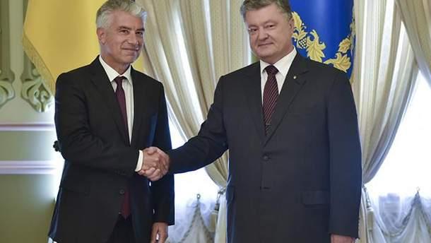 Ернст Райхель с Петром Порошенко