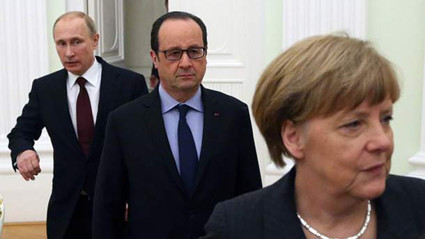 Ангела Меркель, Франсуа Олланд та Володимир Путін