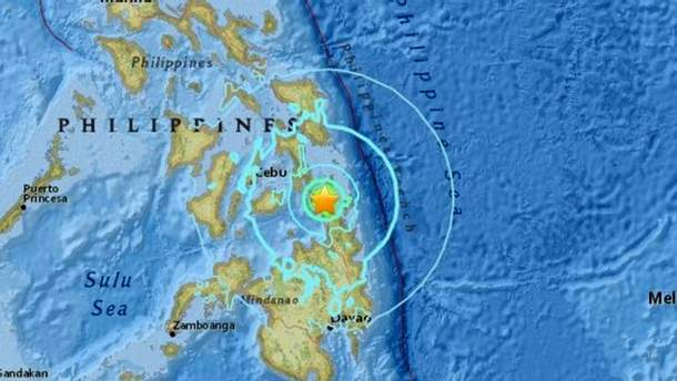 Центр землетрясения в Филлипинах