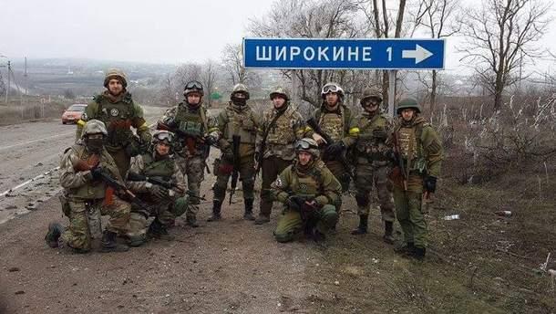 """Бійці підрозділу """"Східний корпус"""" під час боїв за Широкине, 2015 рік"""