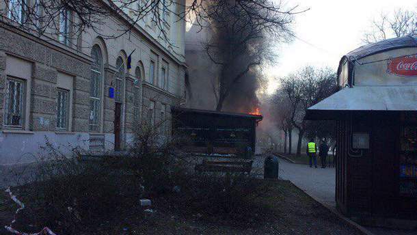 В центре Львова горел ресторан: появилось видео