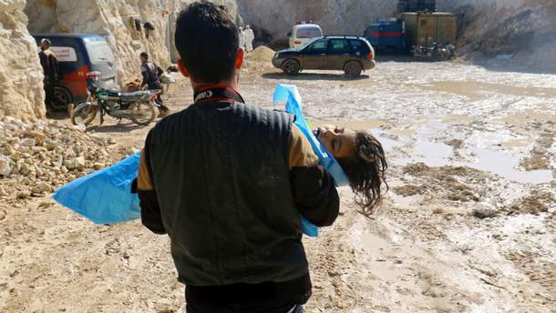 Последствия газовой атаки в Сирии