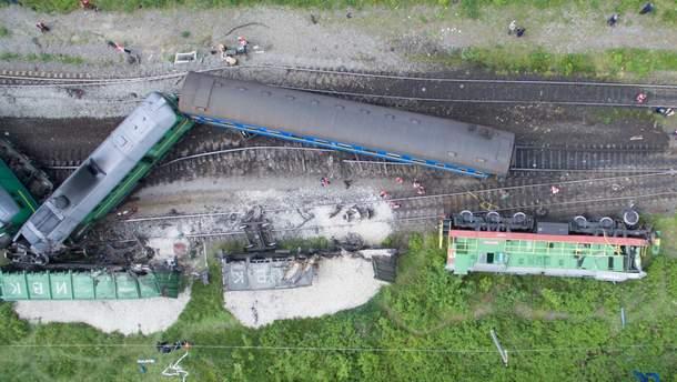 Наслідки залізничної аварії на Хмельниччині