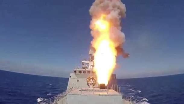 Момент запуска российских ракет в Сирии
