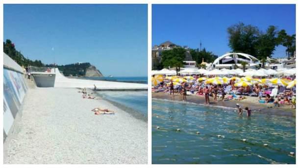 Пляжи в оккупированном Крыму и в Одессе