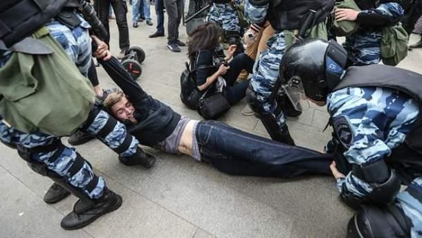 Массовые задержания на митингах в День России