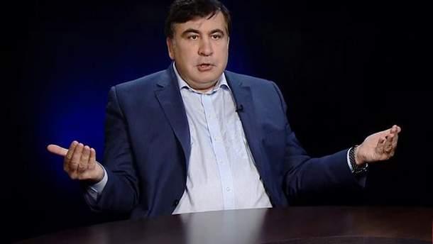 В Саакашвили бросили яйцом с зеленкой