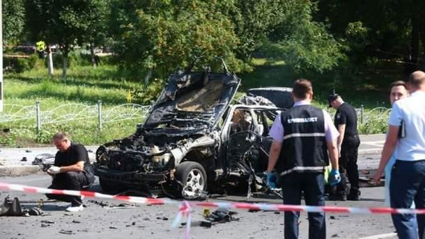 Место взрыва авто в Киеве, где погиб разведчик Шаповал