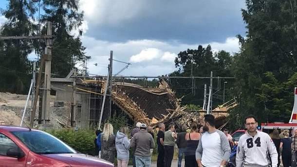 Авария на строительстве железнодорожного моста в Швеции. Фото с места событий