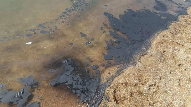 Море возле Мариуполя покрылось черными пятнами: фотофакт