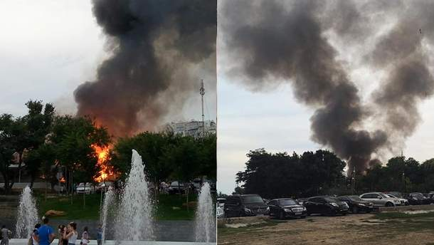 """Пожар в ресторане """"Хуторок"""" в Одессе"""