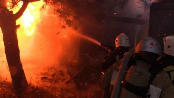 Пожар на базе отдыха в Крыму