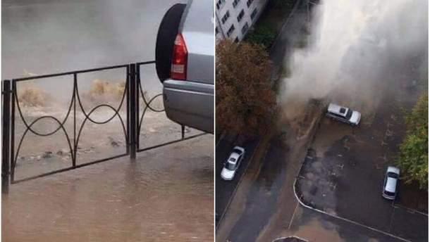 Прорив труди з гарячою водою у Києві. Фото з місця подій