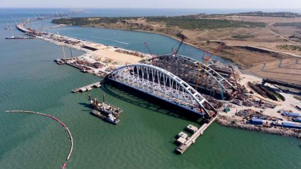 Как выглядит недостроенный Керченский мост из космоса