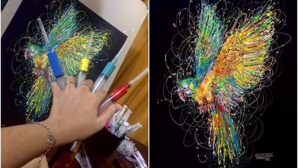 Картини, які медсестра малює фарбами та шприцом