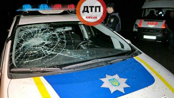 Разбили  машину полиции