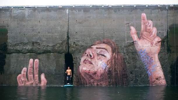 Граффити на стене залива Фанди