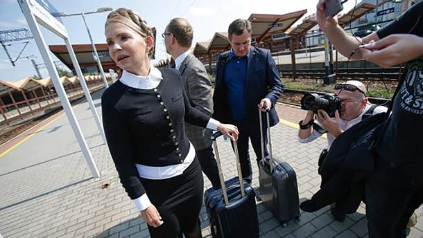 Юлия Тимошенко на украино-польской границе готовится к встрече с Михаилом Саакашвили
