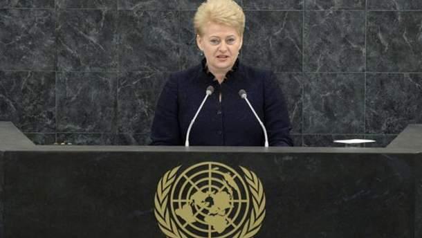 Грібаускайте на Генасамблеї ООН стала на захист України перед агресією Росії
