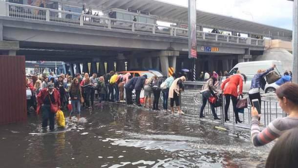 Мощный ливень в Киеве затопил несколько улиц