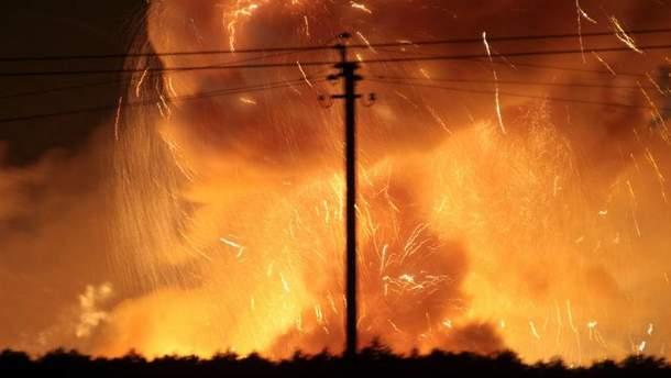 Пожар на складах с боеприпасами в Калиновке
