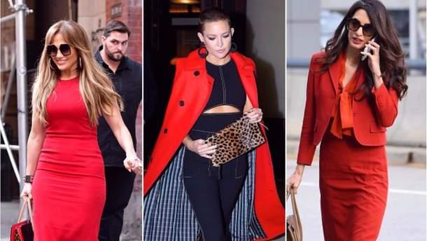 9a279f51a7e С чем носить красный  20 модных образов звезд Голливуда этой осенью ...