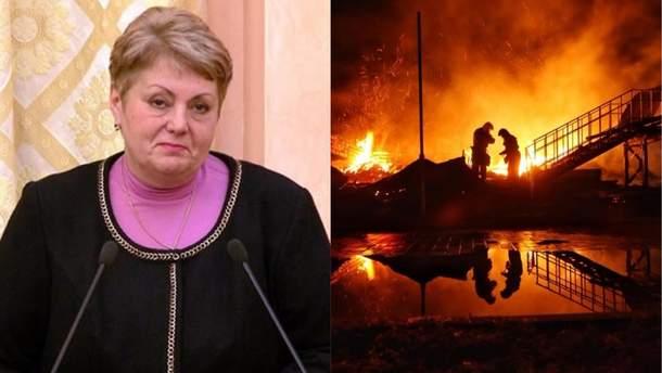 Пожар в лагере Одессы: о подозрении сообщено Цвиринько