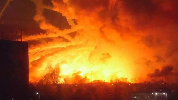 Взрывы на военных складах в Калиновке