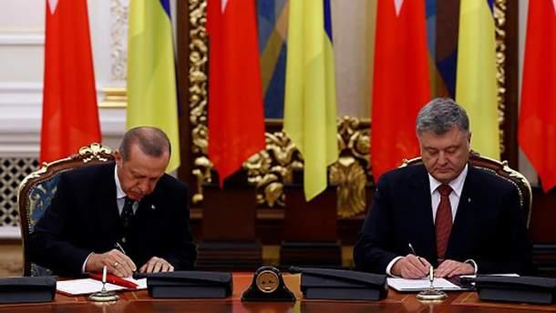 Реджеп Таїп Ердоган під час зустрічі з Петром Порошенком у Києві