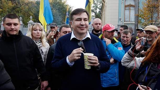 Михеил Саакашвили на митинге под Верховной Радой